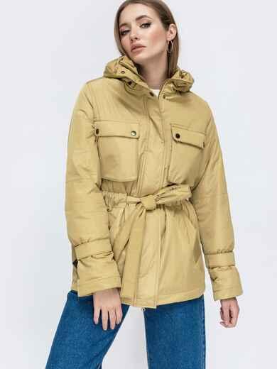 Демисезонная куртка с кулиской по талии бежевая 45171, фото 1
