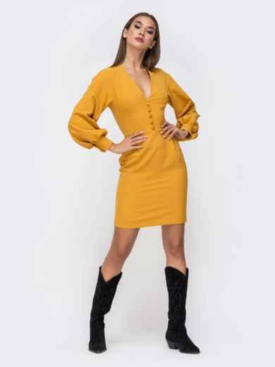 Платье горчичного цвета с V-вырезом 41748, фото 2