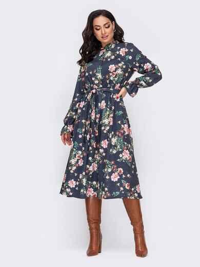 Платье-рубашка большого размера с принтом темно-синее 52081, фото 1