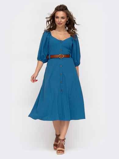 Расклешенное платье синего цвета с коротким рукавом  46858, фото 1