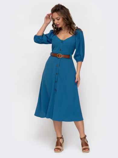 Расклешенное платье синего цвета с коротким рукавом  46858, фото 2