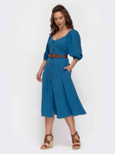 Расклешенное платье синего цвета с коротким рукавом  46858, фото 3