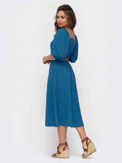 Расклешенное платье-рубашка синего цвета с коротким рукавом  46858, фото 4