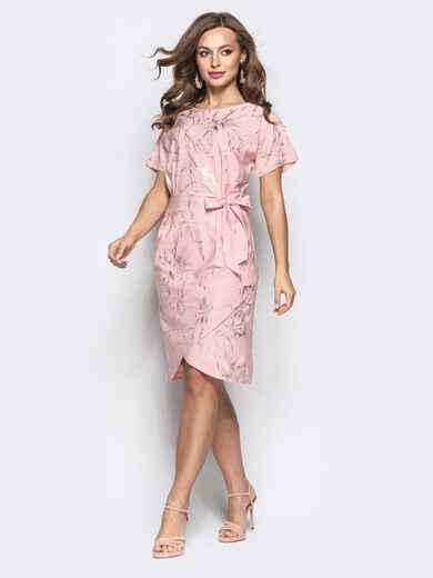 Розовое платье с цельнокроенным рукавом и вшитым поясом - 21257, фото 1 – интернет-магазин Dressa