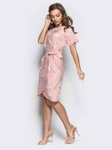 Розовое платье с цельнокроенным рукавом и вшитым поясом - 21257, фото 2 – интернет-магазин Dressa