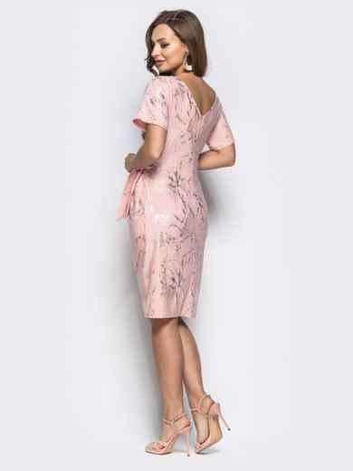 Розовое платье с цельнокроенным рукавом и вшитым поясом - 21257, фото 3 – интернет-магазин Dressa
