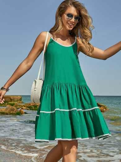 Сарафан зеленого цвета с двухъярусной юбкой 48153, фото 1