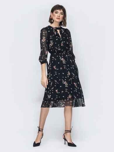 """Шифоновое платье-миди чёрного цвета с вырезом """"капля"""" - 45071, фото 1 – интернет-магазин Dressa"""