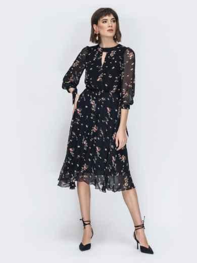 """Шифоновое платье-миди чёрного цвета с вырезом """"капля"""" - 45071, фото 2 – интернет-магазин Dressa"""