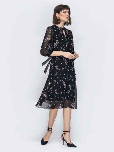 """Шифоновое платье-миди чёрного цвета с вырезом """"капля"""" - 45071, фото 3 – интернет-магазин Dressa"""