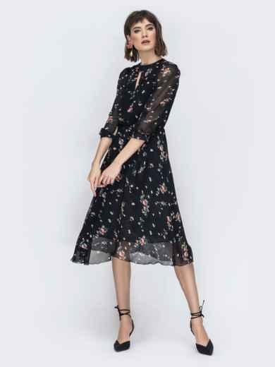 """Шифоновое платье-миди чёрного цвета с вырезом """"капля"""" - 45071, фото 4 – интернет-магазин Dressa"""