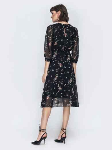 """Шифоновое платье-миди чёрного цвета с вырезом """"капля"""" - 45071, фото 5 – интернет-магазин Dressa"""