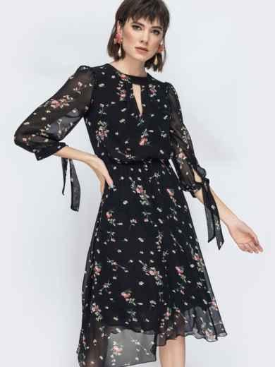 """Шифоновое платье-миди чёрного цвета с вырезом """"капля"""" - 45071, фото 6 – интернет-магазин Dressa"""