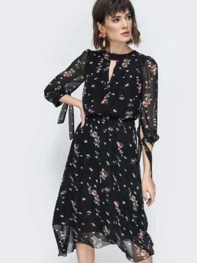 """Шифоновое платье-миди чёрного цвета с вырезом """"капля"""" - 45071, фото 7 – интернет-магазин Dressa"""
