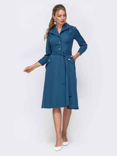 Синее платье с пуговицами спереди и расклешенной юбкой 49523, фото 1