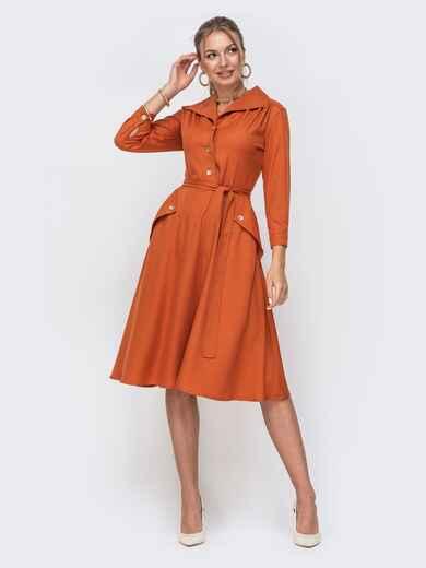 Терракотовое платье с пуговицами спереди и расклешенной юбкой 49524, фото 1