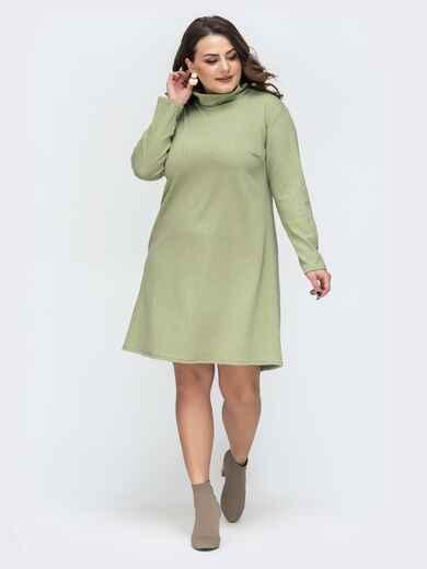 Зеленое платье-трапеция большого размера 45118, фото 1