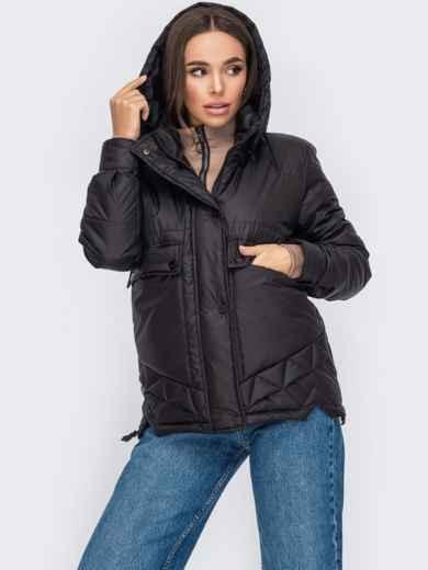 Черная куртка с капюшоном на молнии 53412, фото 1