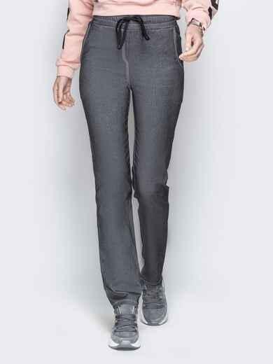 Чёрные джинсовые брюки на резинке по талии 21051, фото 1
