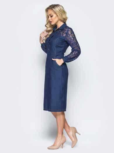 Джинсовое платье-футляр с кокеткой и рукавами из гипюра - 16151, фото 2 – интернет-магазин Dressa