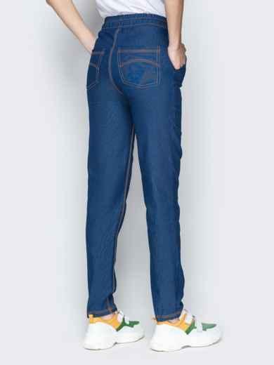 Лёгкие джинсы синего цвета на резинке по талии - 21054, фото 3 – интернет-магазин Dressa