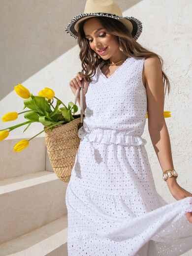 Платье из белой прошвы с многоярусной юбкой 49370, фото 1