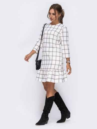 Платье с оборкой по низу и рукавами 3/4 белое - 42163, фото 2 – интернет-магазин Dressa