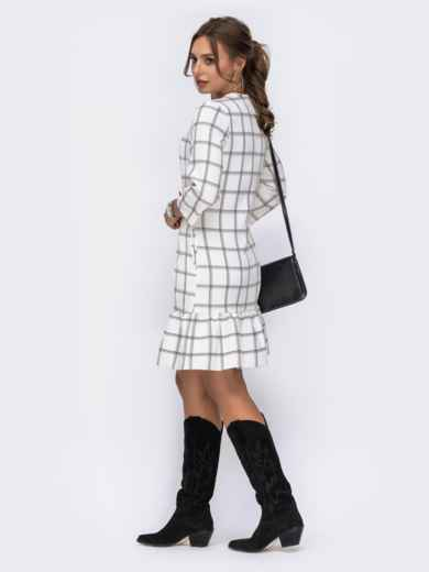 Платье с оборкой по низу и рукавами 3/4 белое - 42163, фото 3 – интернет-магазин Dressa