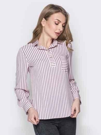 Розовая блузка в полоску пуговицами на полочке 19296, фото 1