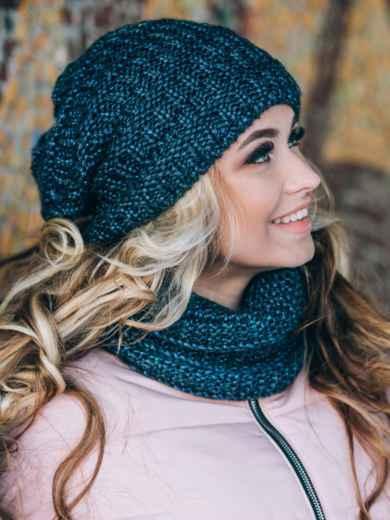 Синие шапка и шарф с переплётом изнаночной вязки - 14893, фото 3 – интернет-магазин Dressa