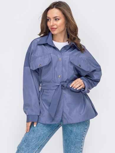 Синяя куртка с поясом на кнопках 53411, фото 1