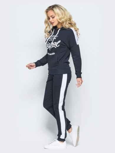 Спортивный костюм черного цвета с накаткой на кофте - 16514, фото 2 – интернет-магазин Dressa