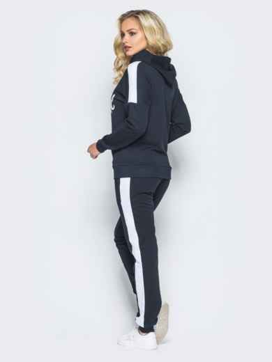 Спортивный костюм черного цвета с накаткой на кофте - 16514, фото 3 – интернет-магазин Dressa