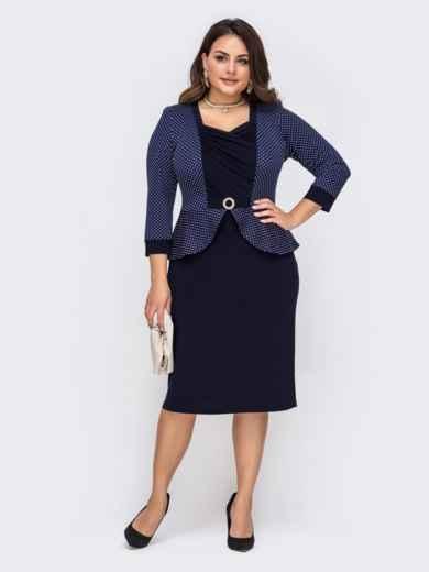 Темно-синее платье большого размера с баской 51286, фото 1