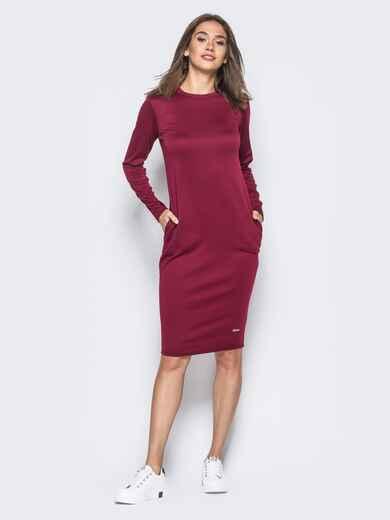 Трикотажное платье бордового цвета с карманами на полочке - 16428, фото 1 – интернет-магазин Dressa