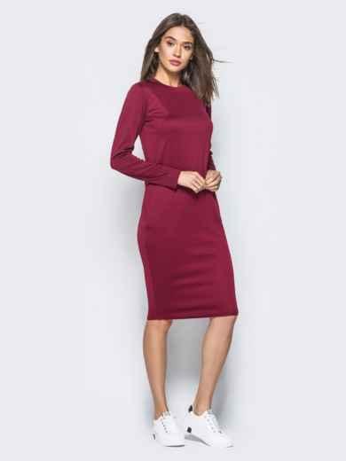Трикотажное платье бордового цвета с карманами на полочке - 16428, фото 2 – интернет-магазин Dressa