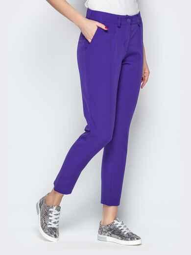 Укороченные брюки со шлёвками и карманами фиолетовые - 20833, фото 1 – интернет-магазин Dressa