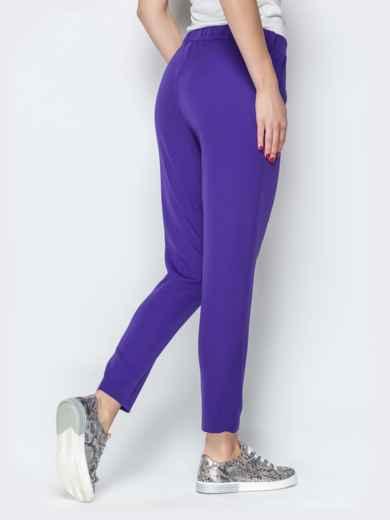 Укороченные брюки со шлёвками и карманами фиолетовые - 20833, фото 2 – интернет-магазин Dressa