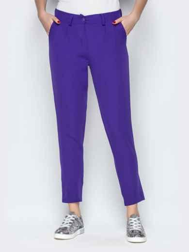 Укороченные брюки со шлёвками и карманами фиолетовые - 20833, фото 3 – интернет-магазин Dressa