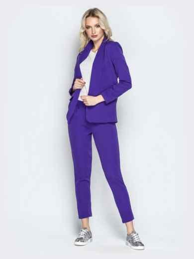 Укороченные брюки со шлёвками и карманами фиолетовые - 20833, фото 4 – интернет-магазин Dressa