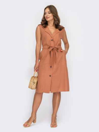 Платье-рубашка терракотового цвета без рукавов 53968, фото 1