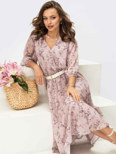 Пудровое платье из шифона в цветочный принт с фиксированным запахом 54214, фото 1