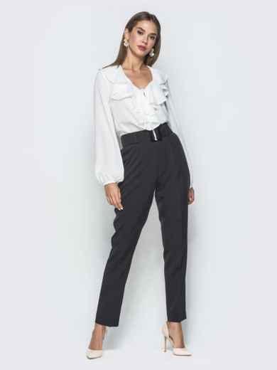 Белая блузка с рюшами по горловине - 40106, фото 5 – интернет-магазин Dressa