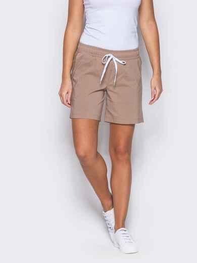 Бежевые шорты с поясом на резинке - 12108, фото 1 – интернет-магазин Dressa