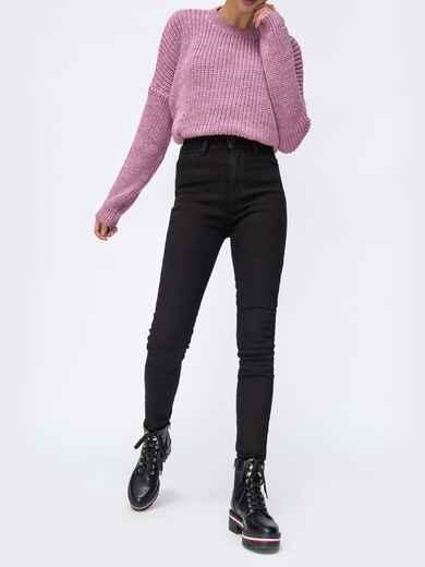 Чёрные джинсы-скинни на флисе с завышенной талией - 42597, фото 1 – интернет-магазин Dressa