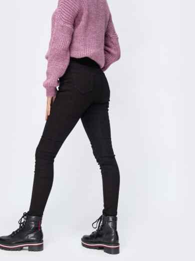 Чёрные джинсы-скинни на флисе с завышенной талией - 42597, фото 2 – интернет-магазин Dressa