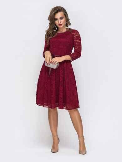 Красное платье из гипюра с расклешенной юбкой 43038, фото 1