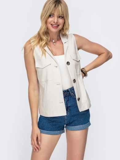 Льняная блузка с накладными карманами бежевая - 49108, фото 2 – интернет-магазин Dressa