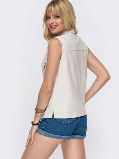 Льняная блузка с накладными карманами бежевая - 49108, фото 3 – интернет-магазин Dressa