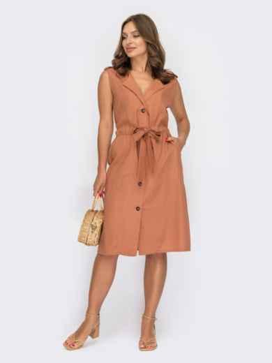 Платье-рубашка без рукавов терракотового цвета 53968, фото 1